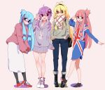4girls :d adjusting_eyewear ahoge alternate_costume ankle_boots arm_up bag bangs bare_legs bespectacled black_eyes black_footwear black_hairband black_legwear black_pants blonde_hair blue-framed_eyewear blunt_bangs blush blush_stickers boots brown_eyes casual closed_mouth collarbone crescent_moon_symbol drawstring dress eyebrows_visible_through_hair flag_print full_body glasses grey_dress grey_sweater hair_ornament hair_ribbon hair_tie hairband hairpin hand_up handbag hands_in_pockets highres kotonoha_akane leaning_forward leg_up legs_together long_hair long_skirt long_sleeves looking_at_viewer low-tied_long_hair low_twintails multiple_girls no_legwear one_side_up open_mouth own_hands_together pants pantyhose pink_background pink_hair pink_sweater purple_background purple_hair red-framed_eyewear red_footwear red_ribbon ribbon round_teeth scarf semi-rimless_eyewear shiny shiny_hair shoes shoulder_bag sidelocks simple_background skirt sleeves_past_wrists smile sneakers socks standing standing_on_one_leg straight_hair sweater sweater_dress tareme teeth towel towel_on_head tress_ribbon twintails under-rim_eyewear union_jack very_long_hair vocaloid voiceroid white_legwear white_scarf white_skirt yusake_san yuzuki_yukari