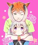 1boy 1girl :3 animal_ears bangs bunny_ears carrot character_name eyebrows_visible_through_hair fox_ears green_eyes green_shirt grey_hair holding hug hug_from_behind humanization judy_hopps looking_at_viewer nick_wilde one_eye_closed orange_hair pink_background purple_eyes shirt short_hair sibyl simple_background smile star twitter_username weibo_id wide-eyed zootopia