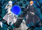 2boys belt black_footwear black_jacket black_pants black_rock_shooter_(character) black_rock_shooter_(character)_(cosplay) black_shirt bleach chains checkered checkered_background cosplay glowing glowing_eye grey_cape grey_pants groin gun holding holding_gun holding_sword holding_weapon jacket kurosaki_ichigo masaki_(logic15) midriff multiple_boys navel orange_hair over_shoulder pants shirt spiked_hair standing stomach sword sword_over_shoulder weapon weapon_over_shoulder white_rock_shooter white_rock_shooter_(cosplay)