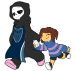 alternate_universe altertale ambiguous_gender animated_skeleton bone brown_hair clothing duo friisans hair hi_res hoodie human mammal not_furry protagonist_(undertale) sans_(undertale) simple_background skeleton skull slippers smile undead undertale video_games white_background
