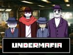 alternate_universe animated animated_skeleton blush bone clothing fan_character fedora gaster hat jacket kiatokid male necktie not_furry papyrus_(undertale) protagonist_(undertale) sans_(undertale) scarf skeleton smile teeth undead undermafia undertale video_games