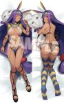 1girl areola_slip areolae ass black_bra black_panties bra bracelet breasts commentary_request dakimakura dark_skin earrings egyptian egyptian_clothes eyes_closed facepaint facial_mark fate/grand_order fate_(series) hairband highres hoop_earrings ishikawa_kuma_yarou jackal_ears jewelry large_breasts long_hair looking_back low-tied_long_hair lying medjed multiple_views navel nitocris_(fate/grand_order) on_back on_stomach open_mouth panties pillow pillow_hug purple_eyes purple_hair sample sandals sidelocks sleeping striped striped_legwear thighhighs underboob underwear undone_bra very_long_hair wavy_mouth