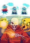 alternate_universe animated_skeleton bone boots clothing edit english_text footwear gaster_blaster hi_res not_furry papyrus_(undertale) popcornpr1nce role_reversal sad sans_(undertale) scarf skeleton text undead underswap undertale video_games