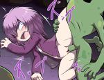 1girl bangs bar_censor blush bottomless censored constricted_pupils derodero fangs hair_over_one_eye hetero jacket long_sleeves messy_hair nollety open_clothes open_jacket open_mouth pointless_censoring purple_hair purple_jacket pussy rape sex shirt solo_focus spread_legs sudou_michiko tears teeth torn_clothes torn_shirt vaginal white_shirt zombie