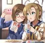 2girls :o bendy_straw blue_eyes brand_name_imitation brown_hair cellphone cup drinking_straw eyebrows_visible_through_hair food french_fries glasses green_eyes haruki_(haruki678) headphones headphones_around_neck highres holding holding_cup idolmaster idolmaster_cinderella_girls maekawa_miku multiple_girls one_eye_closed phone school_uniform self_shot serafuku short_hair sitting smartphone table tada_riina tray upper_body