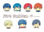 artist_request blue_eyes blue_hair celice_(fire_emblem) chibi ephraim fire_emblem fire_emblem:_fuuin_no_tsurugi fire_emblem:_kakusei fire_emblem:_monshou_no_nazo fire_emblem:_rekka_no_ken fire_emblem:_seima_no_kouseki fire_emblem:_seisen_no_keifu fire_emblem:_souen_no_kiseki fire_emblem_heroes green_hair headband highres ike krom long_hair looking_at_viewer male_focus marth multiple_boys open_mouth roy_(fire_emblem) short_hair simple_background smile tiara