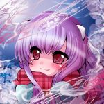 1girl bangs blue_jacket blue_mittens blush closed_mouth commentary_request eyebrows_visible_through_hair fur-trimmed_mittens fur_trim hair_between_eyes jacket long_hair looking_away looking_to_the_side magic_circle mittens muuran original plaid plaid_scarf purple_hair red_eyes red_scarf scarf smile solo unmoving_pattern