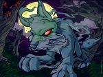 2005 3_toes 4:3 ambiguous_gender blue_fur canine cloud detailed_background digital_media_(artwork) feral fur ghost grass lupe_(neopets) mammal mist moon neopets night official_art outside red_eyes spirit toes tree unknown_artist