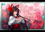 1girl adapted_costume animal_ears bangs black_hair black_skirt brooch closed_mouth flower hair_flower hair_ornament hands_on_own_chest imaizumi_kagerou jewelry letterboxed light_smile long_hair long_sleeves looking_at_viewer onion_(onion_and_pi-natto) photo_(object) red_eyes red_flower sash skirt solo sweater touhou turtleneck turtleneck_sweater upper_body white_sweater wolf_ears