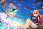 2girls absurdres apple arisa_(shadowverse) bangs bare_legs barefoot black_shirt blonde_hair blue_eyes blue_sky blurry blurry_foreground blush boots_removed brown_footwear brown_gloves cherry_blossoms cloud commentary_request day depth_of_field dress elbow_gloves eyebrows_visible_through_hair fairy fairy_wings flower food fruit gloves green_eyes hair_between_eyes hair_ribbon high_heels highres holding holding_food long_hair low_twintails multiple_girls outdoors petals pleated_skirt purple_flower red_apple red_ribbon ribbon shadowverse shirt sidelocks skirt sky sleeveless sleeveless_shirt spring_(season) toenails tree twintails very_long_hair water white_dress white_skirt wings yuririn_poi
