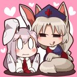 2girls animal_ears blush bon_(rump) bunny_ears closed_mouth fox_ears fox_tail looking_at_another multiple_girls necktie red_cross red_neckwear reisen_udongein_inaba smile smug tail touhou wavy_mouth yagokoro_eirin
