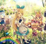 3girls :3 :d ^_^ animal animal_hat animal_on_head bendy_straw bird bird_on_head black_footwear blonde_hair blue_flower blue_hair blue_hat blue_ribbon blue_rose blue_skirt blue_sky blush bow brown_eyes bunny cake carrot cat_hat chair chibi collared_shirt commentary cup day drink drinking_glass drinking_straw eyes_closed fang flower food fork fruit gloves hair_ribbon hairband hand_on_own_face harmonica hat highres holding holding_cup holding_fork holding_instrument instrument leaf light_brown_hair long_hair long_sleeves mary_janes multiple_girls music on_chair on_head open_mouth original outdoors pantyhose pink_flower pink_rose plaid playing_instrument pleated_skirt pudding rainbow red_bow red_flower red_rose ribbon rose sakura_oriko shirt shoes short_hair short_sleeves sitting skirt sky smile socks star strawberry strawberry_shortcake sunlight table teacup very_long_hair white_gloves white_hairband white_legwear white_shirt yellow_flower yellow_rose