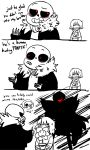 alternate_universe ambiguous_gender animated_skeleton bone clothing comic english_text flora_fauna flower flowey_the_flower flowey_the_flower_(underfell) frisk_(underfell) hi_res human male mammal monochrome papyrus_(underfell) papyrus_(undertale) plant protagonist_(underfell) protagonist_(undertale) red_eyes sans_(underfell) sans_(undertale) simple_background skeleton text undead underfell undertale unknown_artist video_games white_background