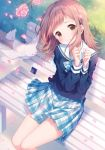 1girl animal bangs bench bird blue_neckwear blue_shirt blue_skirt blush bow bowtie brown_eyes closed_mouth collarbone commentary_request day flower head_tilt idolmaster idolmaster_shiny_colors kurokuma_(kuro_kumagaya) light_brown_hair long_hair long_sleeves looking_at_viewer on_bench outdoors park_bench petals pink_flower plaid plaid_neckwear plaid_skirt pleated_skirt sailor_collar sakuragi_mano school_uniform serafuku shirt sitting skirt smile solo white_sailor_collar