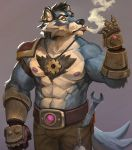 2018 anthro big_muscles canine cigarette clothed clothing digital_media_(artwork) engineer fur gamutfeathers hair hi_res male mammal mechanic muscular muscular_male necktie nipples simple_background smoking solo standing tools topless wolf