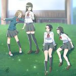4girls :d ^_^ bangs black_hair black_legwear blunt_bangs bow bowtie brown_eyes brown_hair eyes_closed fundoshi_inao grass grin kneehighs kobuchizawa_shirase kobuchizawa_takako loafers long_hair looking_at_another loose_socks multiple_girls open_mouth outdoors outstretched_arms pleated_skirt school_uniform shirt shoes short_hair signature skirt smile sora_yori_mo_tooi_basho sparkle spread_arms tamaki_mari thighhighs time_paradox toudou_gin white_shirt younger zettai_ryouiki