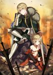 1boy 1girl absurdres arm_support armored_boots bangs bare_shoulders black_legwear black_pants black_shirt blonde_hair blurry blurry_foreground boots breasts bruise cape cleavage closed_mouth commentary_request depth_of_field derori detached_sleeves eyebrows_visible_through_hair fate/apocrypha fate/grand_order fate_(series) fur-trimmed_cape fur_trim green_cape green_eyes hair_between_eyes highres injury long_hair long_sleeves looking_at_viewer mordred_(fate) mordred_(fate)_(all) pants parted_bangs pelvic_curtain planted_sword planted_weapon red_footwear shirt sitting sleeves_past_wrists small_breasts sword thighhighs weapon
