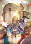 4girls :d armor armored_dress artoria_pendragon_(all) bangs black_scarf blonde_hair blue_bow blue_cloak blue_dress bow braid breasts cleavage closed_mouth commentary_request crown dress enj! epaulettes eyebrows_visible_through_hair fate/extra fate/grand_order fate/stay_night fate_(series) fur-trimmed_cloak fur_trim gauntlets green_eyes hair_bow hair_bun hands_on_hilt haori highres japanese_clothes juliet_sleeves kimono koha-ace large_breasts long_sleeves multiple_girls nero_claudius_(fate) nero_claudius_(fate)_(all) okita_souji_(fate) open_mouth planted_sword planted_weapon puffy_sleeves red_dress saber saber_alter scarf smile sword upper_teeth weapon white_kimono yellow_eyes