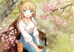1girl :d bangs bench blonde_hair blue_eyes blush breasts collarbone commentary_request cup day double_bun eyebrows_visible_through_hair flower from_above holding holding_cup kurata_rine long_hair long_sleeves looking_at_viewer looking_up medium_breasts on_bench open_mouth original outdoors park_bench petals pink_flower puffy_long_sleeves puffy_sleeves revision shirt side_bun sitting sitting_on_bench smile solo stone_wall thermos very_long_hair wall white_shirt