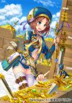 1girl :d arm_belt belt blue_eyes blue_sky blush box bracer brown_hair cloud coin crate day dutch_angle feathers gem glint gold_bar hat index_finger_raised knife marco_polo_(rebellion) medium_hair official_art open_mouth original otosume_ruiko outdoors planted_weapon pouch puffy_sleeves scepter short_shorts shorts sky smile sparkle statue sword thigh_strap treasure weapon white_legwear