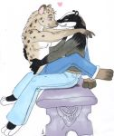 <3 badger bench clothed clothing hug hyaenid male mammal mustelid on_lap romantic_couple simple_background sitting sitting_on_lap sue-chan_(artist) topless white_background