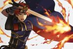 1boy armor aym_(ash3ash3ash) blue_armor blue_eyes cape fire fire_emblem fire_emblem:_fuuin_no_tsurugi gloves headband looking_at_viewer male_focus open_mouth red_hair roy_(fire_emblem) short_hair simple_background sword weapon
