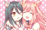 2girls :d ;d ^_^ animal_ears bangs bare_shoulders black_hair blush blush_stickers brown_eyes cheek-to-cheek closed_mouth commentary_request eyebrows_visible_through_hair eyes_closed gucchiann hair_between_eyes hair_ornament hair_rings kashiwazaki_hatsune kashiwazaki_shiori light_brown_hair long_hair multiple_girls one_eye_closed open_mouth pink_background pointy_ears polka_dot polka_dot_background princess_connect! sidelocks smile star star_hair_ornament very_long_hair