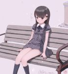 1girl bangs bench black_legwear black_ribbon blue_bow blush bow braid breasts brown_background brown_eyes brown_hair closed_mouth collared_dress dress eyebrows_visible_through_hair hair_bow kneehighs kokudou_juunigou long_hair looking_at_viewer neck_ribbon on_bench original park_bench petals plaid plaid_dress puffy_short_sleeves puffy_sleeves ribbon short_sleeves signature sitting small_breasts solo translation_request twin_braids