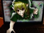4:3 abundant-chaos ben_drowned blonde_hair blood breaking_the_fourth_wall computer corrupt creepy creepypasta edit elf glitchy green_headwear hair humanoid laptop link male microsoft_windows mixed_media monstrous_humanoid nintendo not_furry paint_tool_sai real shopped solo the_legend_of_zelda video_games