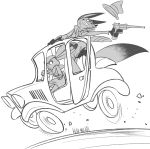black_and_white canine car disney driving duo female fox gun handgun hat judy_hopps kisu-no-hi lagomorph line_art male mammal monochrome nick_wilde rabbit ranged_weapon revolver simple_background vehicle weapon white_background zootopia