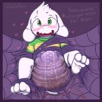 <3 <3_eyes asriel_dreemurr bdsm blush bondage bound cub diaper drooling feces fully_bound ludis-luteo messy_diaper muffet saliva scat spider_web undertale unseen_character video_games young
