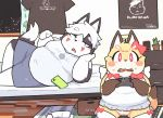 1boy 1girl artist_request black_eyes dog furry game_controller open_mouth red_eyes room white_hair