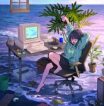 1girl arm_behind_head arm_up artist_name bangs barefoot beach black_hair book bottle box chair commentary_request compact_disc computer controller eyes_closed floppy_disk game_controller hard_drive highres hood hoodie horizon keyboard_(computer) knee_up long_sleeves monitor mouse_(computer) ocean office_chair on_chair original plant pocket potted_plant sho_(sho_lwlw) short_hair shorts sitting sky solo spoon stretch table tearing_up trash_can water water_bottle window yawning