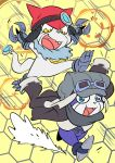 2018 anthro appmon cybernetics digimon digimon_universe:_appli_monsters duo fur gatchmon hat headgear machine male mammal offmon open_mouth rafchan running smile teeth