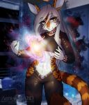 2016 5_fingers abluedeer amber_eyes anthro breasts clothed clothing detailed_background eyelashes feline female hair mammal midriff navel pink_nose smile solo white_hair