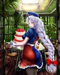 1girl ass back bamboo bangs bare_arms belt blue_dress bow braid cake chair cowboy_shot cup day dress drinking_glass fishnet_pantyhose fishnets food frilled_sleeves frills from_behind hair_bow half-closed_eyes hat holding indoors long_hair looking_at_viewer looking_back nurse_cap pantyhose pantylines parted_bangs plate puffy_short_sleeves puffy_sleeves red_bow red_cross red_dress redoredo_(godprogress) seductive_smile short_dress short_sleeves silver_hair single_braid smile solo table touhou two-tone_dress very_long_hair walking window yagokoro_eirin