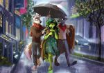 2018 anthro black_nose canine clothed clothing detailed_background digital_media_(artwork) dingo dragon fur group hair hi_res hybrid male mammal multyashka-sweet outside raining simple_background umbrella wolf