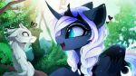 ! <3 2018 ? ambiguous_gender blue_eyes braided_hair day detailed_background digital_media_(artwork) dragon eastern_dragon equine eyelashes female friendship_is_magic fur hair horn magnaluna mammal my_little_pony open_mouth outside princess_luna_(mlp) white_fur white_hair winged_unicorn wings