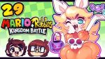 4_fingers :3 blonde_hair blue_eyes candy clothed clothing cosplay dress english_text eyelashes fangs female food fully_clothed hair halloween handpaw happy holding_object holidays jaltoid_(artist) lagomorph long_hair mammal mario_+_rabbids:_kingdom_battle mario_bros nintendo noseless one_eye_closed open_mouth open_smile orange_clothing pawpads paws pink_pawpads pink_tongue princess_peach rabbid rabbid_peach rabbit short_stack smile solo text tongue trick-or-treating ubisoft video_games wink youtube