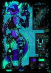 2018 android anthro belt bionic_arm blue_fur boots breasts canine clothing cyber_eye cybernetics cyberpunk design emo female footwear fox fur futuristic glowing gun hair handgun hybrid long_tail machine madnessandgiovanni0595 mammal neon piercing pistol punk ranged_weapon robot science_fiction shirt short_hair shorts smile synergy weapon