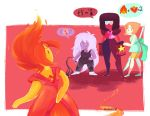 2015 adventure_time alien amethyst_(steven_universe) armor cartoon_network clothed clothing crossover crystal elemental female fire fire_elemental flame_princess flaming_hair fully_clothed garnet_(steven_universe) gauntlets gem_(species) gloves group hair holding_object holding_weapon humanoid larger_female melee_weapon natouu not_furry pearl_(steven_universe) perspective pictographics polearm size_difference smaller_female spear speech_bubble standing steven_universe visor weapon whip