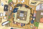 2girls alarm_clock amazon_(company) bird book bookshelf brown_hair cellphone clock computer duck earbuds earphones eraser eyes_closed eyewear_removed facing_viewer from_above glasses indoors long_hair microwave multiple_girls open_mouth original pencil pencil_case phone poster power_strip printer sakeharasu sleeping slippers_removed stylus tablet tissue_box trash_can wall_clock