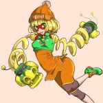 1girl arms_(game) bangs beanie bob_cut breasts covered_nipples crop_top domino_mask dragon_(arms) gradient gradient_background green_eyes green_footwear green_shirt hat leg_up leggings looking_at_viewer mask medium_breasts min_min_(arms) open_mouth orange_hat orange_pants orange_shirt pants pink_background purple_legwear ringed_eyes shirt shoes short_hair sleeveless sleeveless_shirt smile sneakers solo undershirt zaitsu zipper_pull_tab