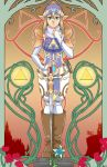 1girl alternate_costume art_nouveau bandanna blue_eyes boots bridal_gauntlets brown_hair commentary earrings english_commentary full_body highres jewelry knee_boots long_hair pauldrons pelvic_curtain planted_sword planted_weapon pointy_ears princess_zelda ring sidelocks solo sword the_legend_of_zelda tiara triforce turtleneck unicornlord weapon