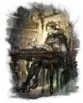 1boy birdcage book bookshelf brown_hair cage chair cloak cyrus_(octopath_traveler) desk feathers high_heels looking_down octopath_traveler official_art quill reading sitting solo square_enix vase window writing yoshida_akihiko