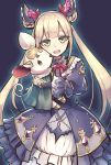 1girl :d bangs blonde_hair bow diamond_(shape) double_bun dress eyebrows eyelashes frilled_dress frills gem green_eyes hair_bow hair_ornament head_tilt highres holding holding_stuffed_animal long_hair long_sleeves looking_at_viewer luna_(shadowverse) open_mouth puffy_sleeves purple_background purple_dress red_bow red_ribbon ribbon shadowverse simple_background smile solo stuffed_animal stuffed_mouse stuffed_toy teeth tongue twintails very_long_hair wagashi928