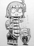 3girls ^_^ bangs blush centaur character_request chibi double_bun fate/grand_order fate_(series) fujimaru_ritsuka_(female) hair_over_one_eye happy japanese_text monochrome monster_girl olga_marie_animusphere riding riyo_(lyomsnpmp) scan short_hair smile translation_request