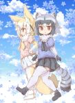 2girls :> alternate_legwear animal_ears bangs black_gloves black_hair black_legwear black_skirt blonde_hair blue_shirt blue_sky blush breasts closed_mouth cloud common_raccoon_(kemono_friends) day eyebrows eyebrows_visible_through_hair fennec_(kemono_friends) flower fox_ears fox_girl fox_tail from_side fur_collar gloves grey_gloves grey_hair grey_legwear hand_on_hip hand_up highres kemono_friends kolshica medium_breasts miniskirt multicolored multicolored_clothes multicolored_gloves multicolored_hair multicolored_legwear multiple_girls pink_shirt pleated_skirt puffy_short_sleeves puffy_sleeves raccoon_ears raccoon_tail shading_eyes shirt short_hair short_sleeves sideways_mouth skirt sky smile standing striped_tail tail thighhighs two-tone_gloves two-tone_legwear walking white_gloves white_hair white_skirt yellow_gloves yellow_legwear zettai_ryouiki