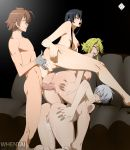 akame akame_ga_kill! black_hair blonde_hair brown_hair cum erect_nipples fingering happy leone moaning najenda nude sex silver_hair tatsumi_(akame_ga_kill!) thighs vaginal whentai