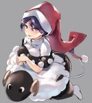 1girl asuzemu blue_eyes blue_hair book breasts capelet doremy_sweet dress grey_background hat large_breasts long_hair looking_at_viewer multicolored multicolored_clothes multicolored_dress nightcap nightgown open_mouth pom_pom_(clothes) red_hat sheep short_hair smile stuffed_animal stuffed_sheep stuffed_toy tail tapir_tail touhou